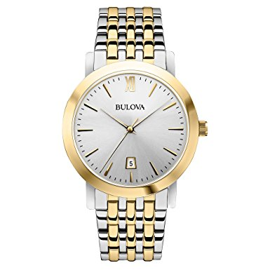 Bulova Mens Two Tone Stainless Steel Bracelet Band watch with day indicator roman numeral 12