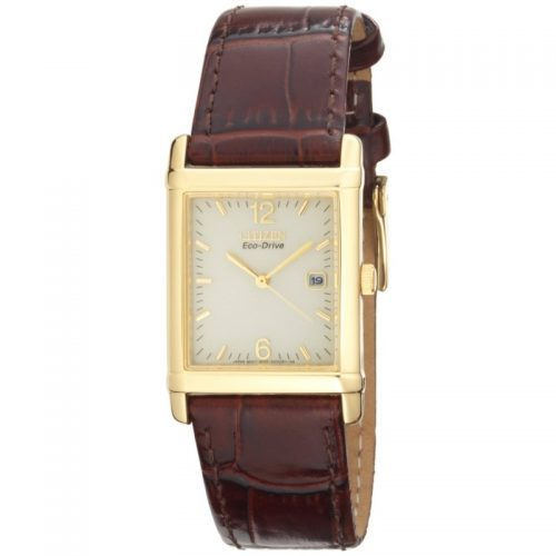 210e0344251a2b Citizen Eco Drive Mens Brown Leather Strap Watch with Gold Tone Stainless  Steel Case