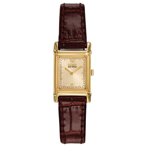 0a9cea76e Citizen Eco Drive Ladies Brown Leather Strap Watch with Gold Tone Stainless  Steel Rectangle Case