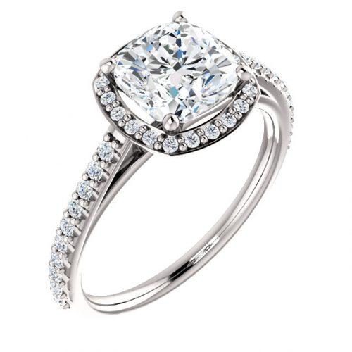 14K White 7mm Cushion Halo-Style Engagement Ring Mounting