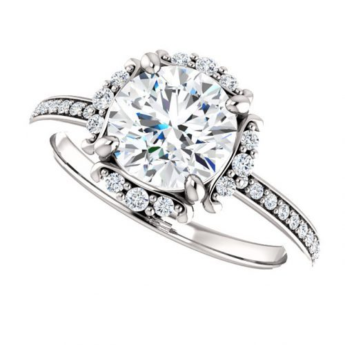 14K White 7.4mm Round Halo-Style Engagement Ring Mounting