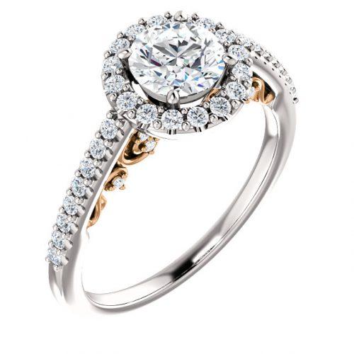 14K White & Rose 5.8mm Round Engagement Ring Mounting
