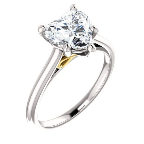 14K White & Yellow 8x8mm Heart Solitaire Engagement Ring Mounting
