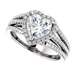 10K White 7x7mm Heart Engagement Ring Mounting with Halo