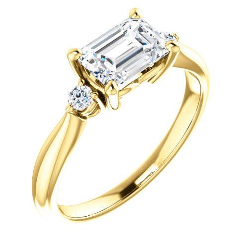 10K Yellow 7x5mm Emerald Ring Mounting