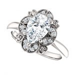 Platinum 9x6mm Pear Ring Mounting with Floral Inspired Halo