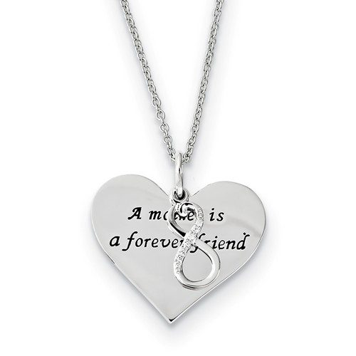 Sterling Silver Antiqued CZ A Mother Is A Forever Friend 18in Necklace MSRP: $91.86