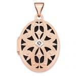 14k Rose Gold 21mm Oval With Diamond Vintage Blk Interior Locket