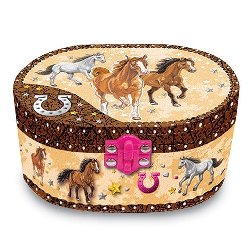 Dashing Horses Oval Musical Jewelry Box