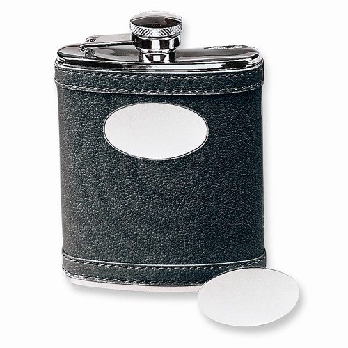 6 Oz. Stainless Steel Faux Leather Black Flask