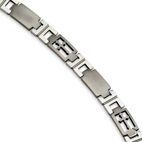 Stainless Steel Cross 8.5in Bracelet