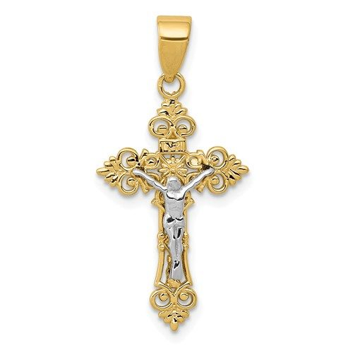 14K Two-Tone Small Lacey-Edged INRI Crucifix Pendant