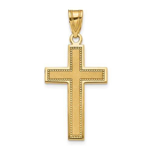 14K Large Satin Cross Pendant