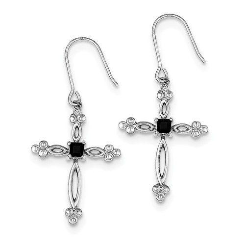 Sterling Silver Diamond Accent CZ Cross Earrings