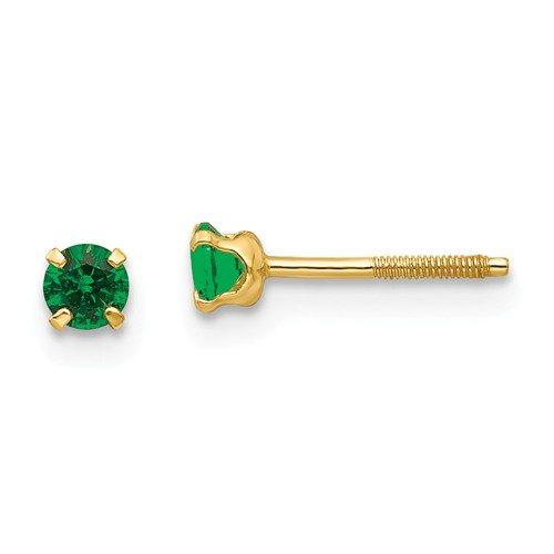 14k Madi K 3mm Synthetic Emerald Birthstone Earrings