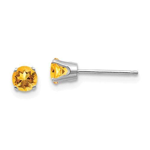 14k White Gold 4mm Citrine Stud Earrings