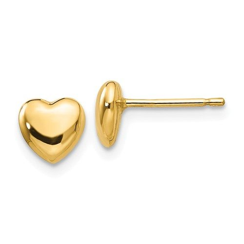 14K Yellow Gold Post Heart Earrings