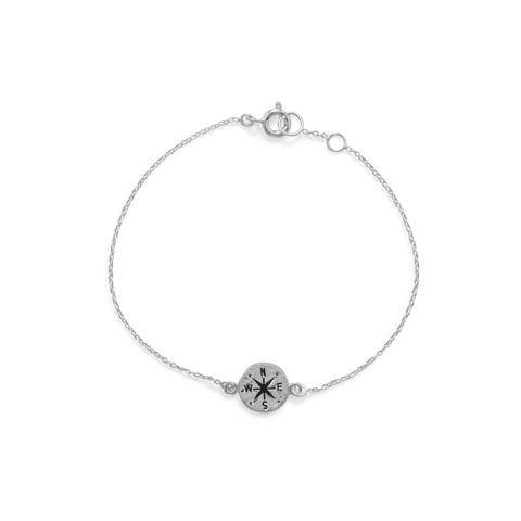Sterling Silver Mini Compass Bracelet