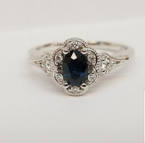 14k White Gold Genuine Sapphire and Diamond Engagement Ring September Birthstone Ring
