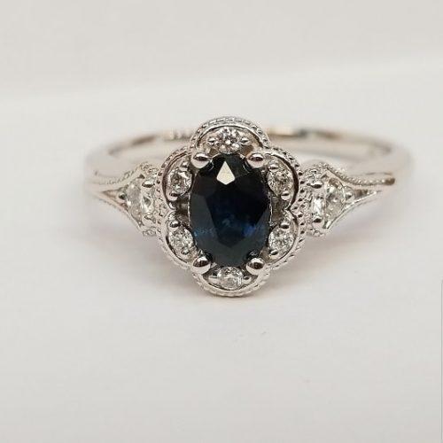 14k White Gold Genuine Sapphire and Diamond Engagement Ring September Birthstone Ring