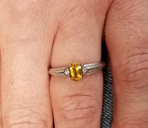 10k White Gold Citrine Ring with Diamond Accents